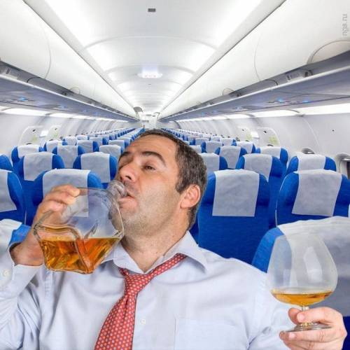 Поздравление на борту самолета